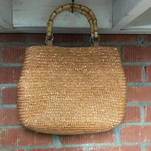 Straw Handbag With Bamboo Handles